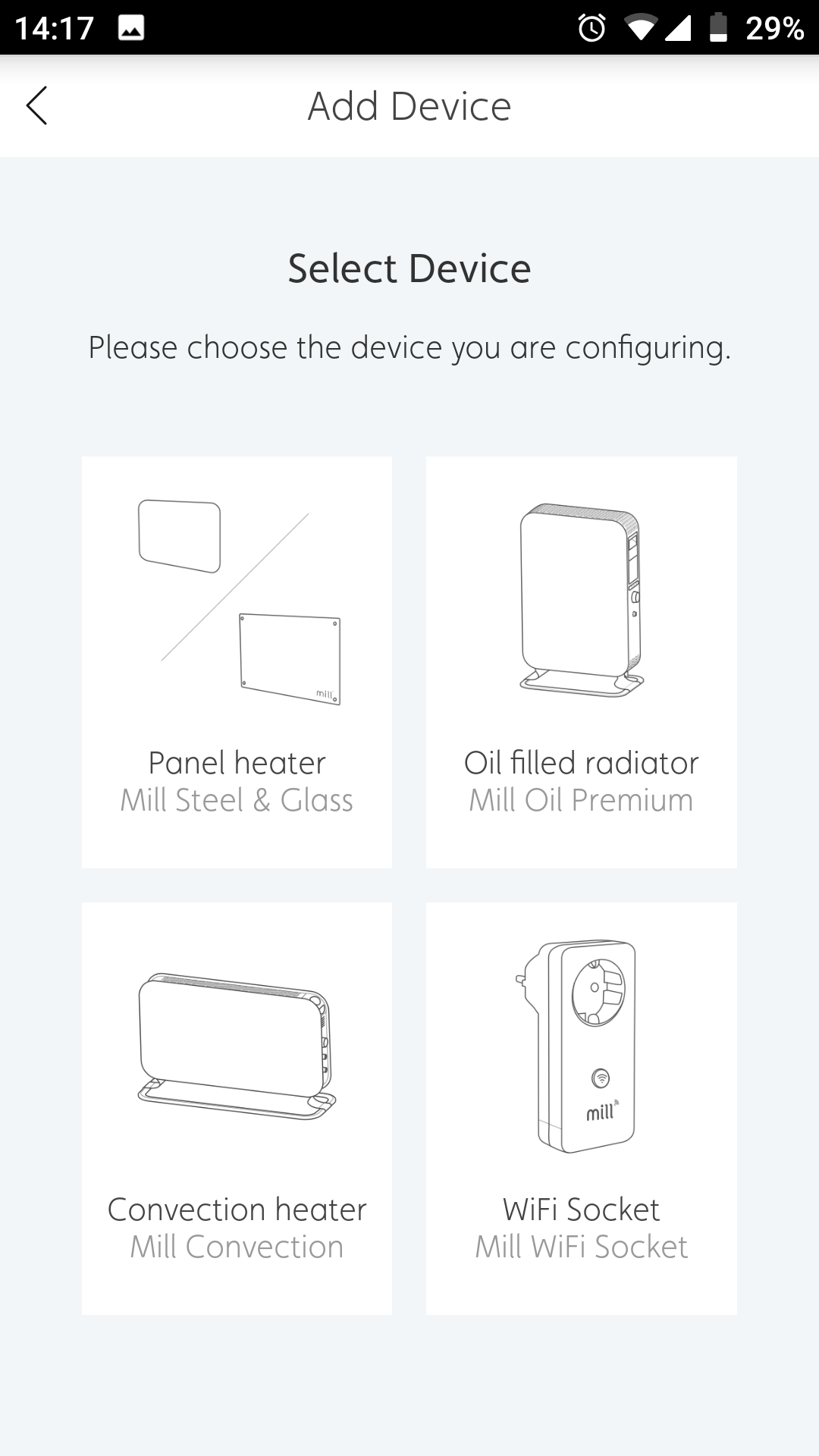 Select your product from the options displayed