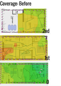 Heat map 1 shows poor coverage in two out of three floors and adequate coverage on the ground floor.
