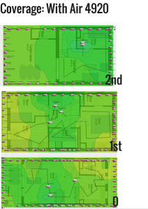 Heatmap 2 shows the same residence with mesh Wi-Fi and satisfactory coverage