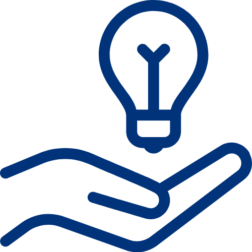 Hand Holding Bulb Icon