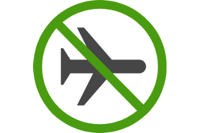Airplane with green block sign