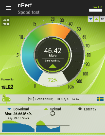 Wi-Fi speed measured with the nPerf utility.