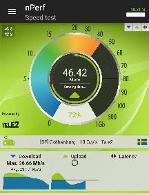 Wifi-hastighet målt med verktøyet nperf.