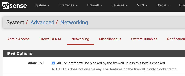 Skjermbilde pfsense nettverksinnstillinger