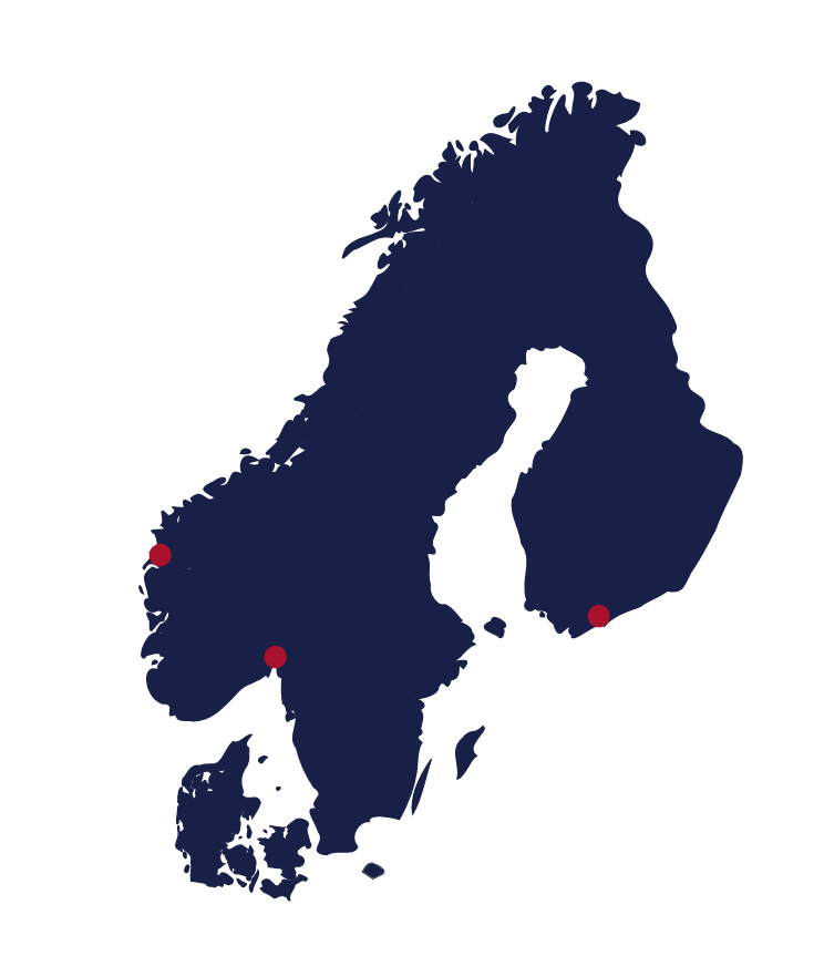 Map showing Scandinavia and Finland and locations of Eye Networks offices