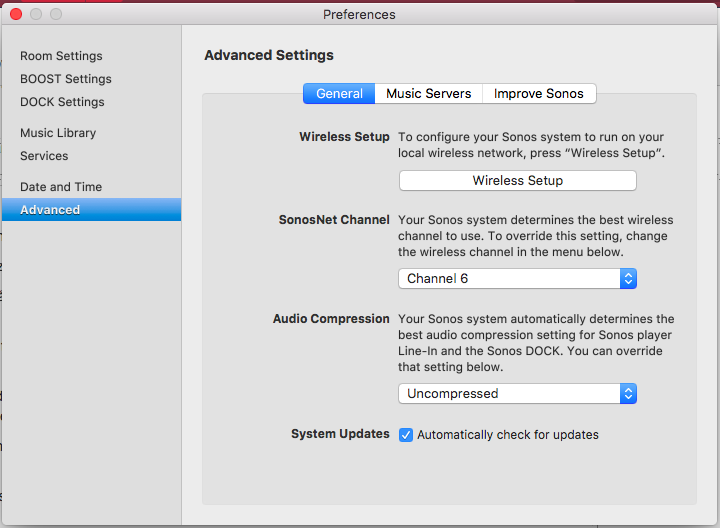 In SonosNet advanced settings, you can set which channel you want Sonos to use