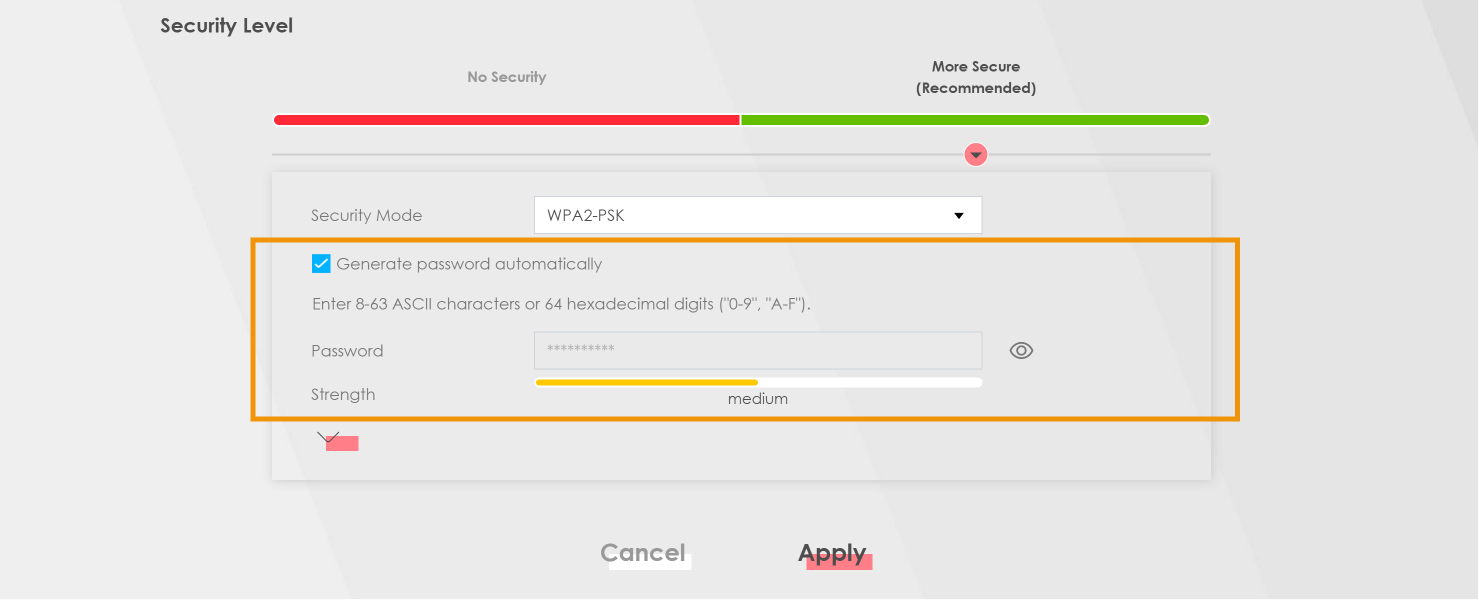 Skjermbilde viser utsnitt av innstillingene hvor wifi-passordet kan byttes ut